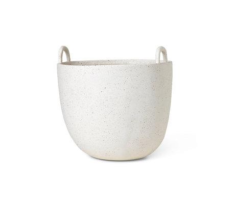Ferm Living Jardinière Speckle pierre émaillée blanc cassé Ø30x30cm