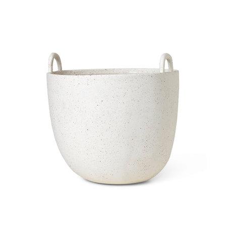 Ferm Living Plantenpot Speckle gebroken wit geglazuurd steen Ø30x30cm