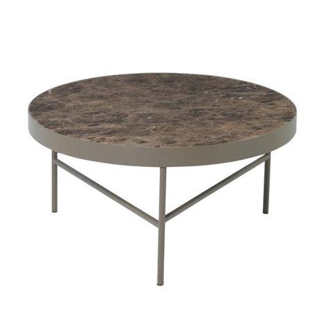Ferm Living Coffee table Marble brown marble metal Ø70,5x35cm