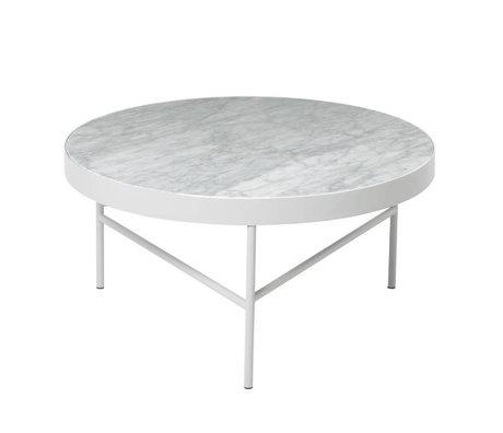 Ferm Living Couchtisch Marmor aus weißen Marmor Metall Ø70,5x35cm