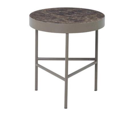 Ferm Living Table basse en métal marbre marbre brun Ø40x45cm