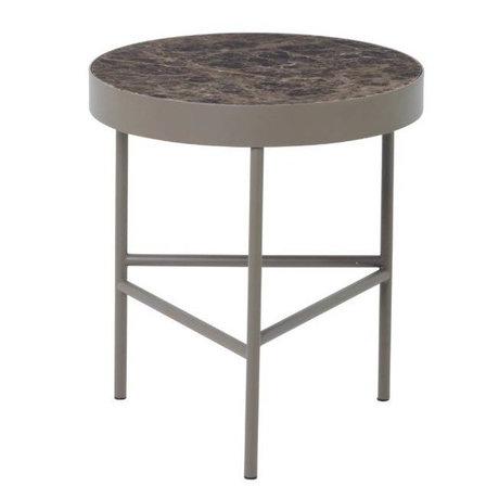 Ferm Living Coffee table Marble brown marble metal Ø40x45cm