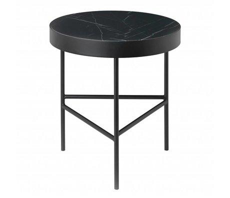 Ferm Living Side table Marble black marble metal Ø40x45cm