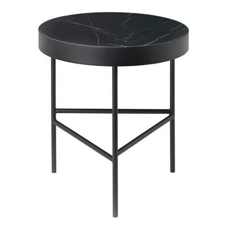 Ferm Living Bijzettafel Marble zwart marmer metaal Ø40x45cm