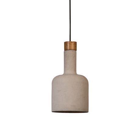 Dutchbone Cradle Bottle hanging lamp sand brown concrete wood Ø18.5x168cm