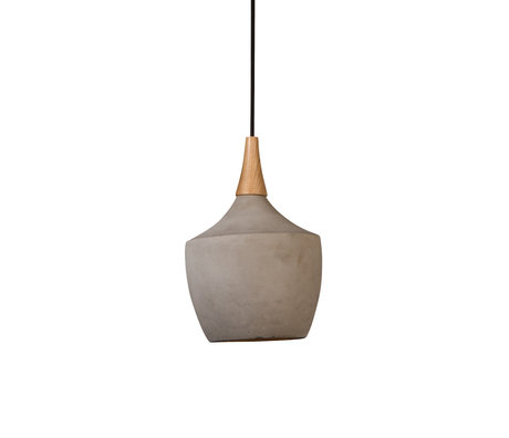 Dutchbone Cradle Carafe hanging lamp sand brown concrete wood Ø21x164cm