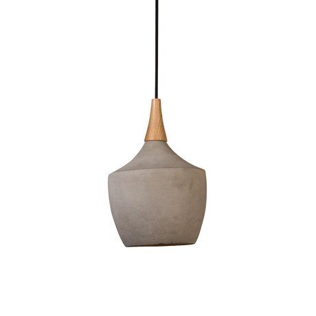 Dutchbone Cradle Carafe lampe suspension sable brun béton bois Ø21x164cm