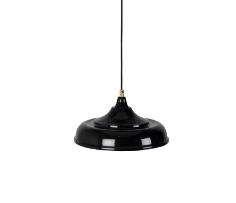 Dutchbone Sally lampe à suspension noire en métal jaune Ø34,5x165cm