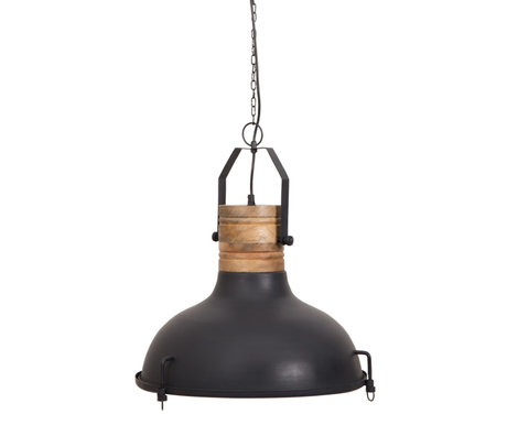 Dutchbone Hanging lamp Raw black metal wood Ø47x145cm