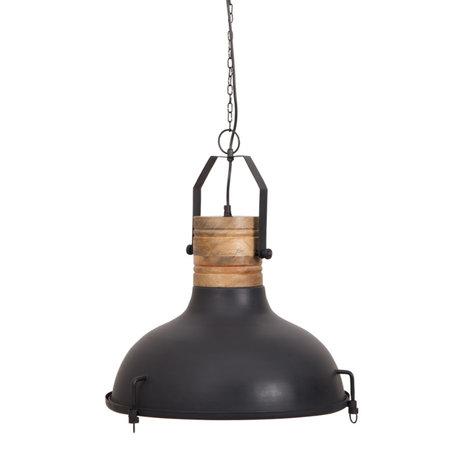 Dutchbone Hanglamp Raw zwart metaal hout Ø47x145cm