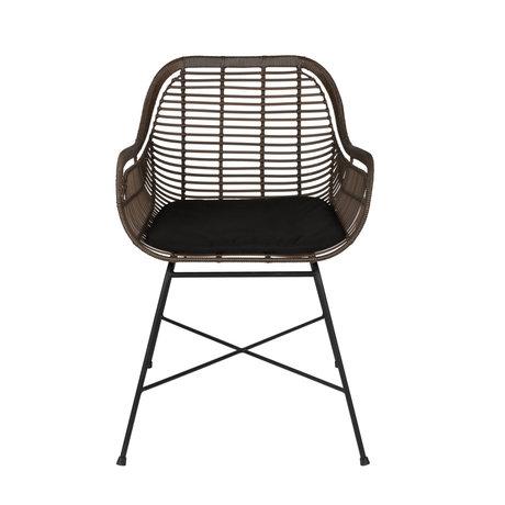 Dutchbone Chaise de jardin Cantik avec accoudoir marron rotin noir fer 52x59x78.5cm