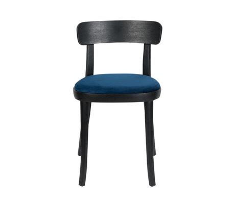 Dutchbone Chair Brandon black blue polyester ash wood 46x45x75cm