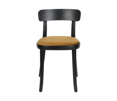 Dutchbone Chair Brandon black ocher yellow polyester ash wood 46x45x75cm