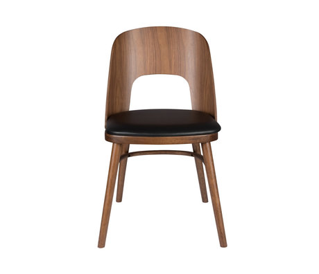 Dutchbone Talika chair brown black textile rubber wood 45x59x81.5cm