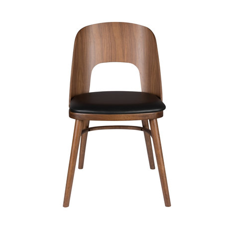 Dutchbone Stoel Talika bruin zwart textiel rubberhout 45x59x81,5cm