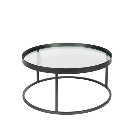 Dutchbone Table basse Boli verre fer noir Ø70x30cm