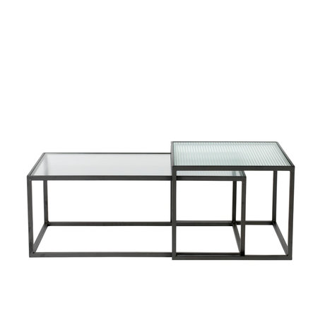 Dutchbone Table basse Boli fer à repasser verre noir lot de 2