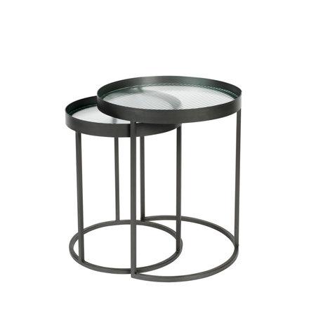 Dutchbone Table basse Boli fer à repasser verre noir lot de 2