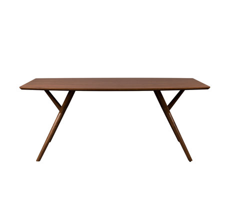 Dutchbone Table à manger Malaya en bois de noyer brun foncé 180x90x74cm