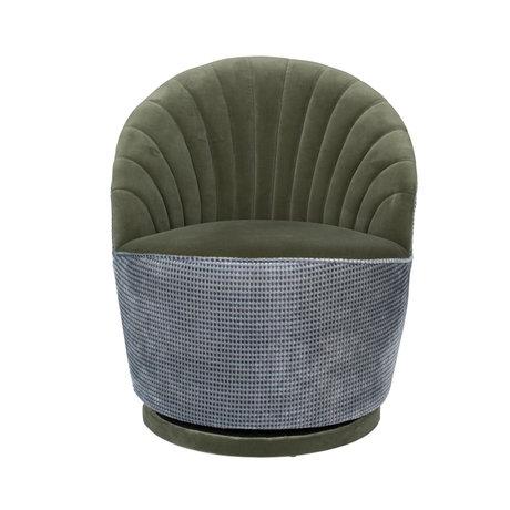 Dutchbone Fauteuil Madison vert olive textile métal 67x76x78cm
