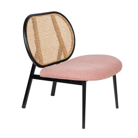 Zuiver Fauteuil Spike roze rotan staal textiel 78,6x70x84,1cm