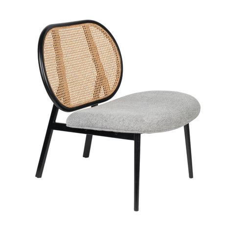 Zuiver Fauteuil Spike gris rotin acier textile 78,6x70x84,1cm