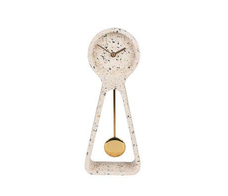 Zuiver Horloge de table pendule en béton blanc 14,5x6x38cm