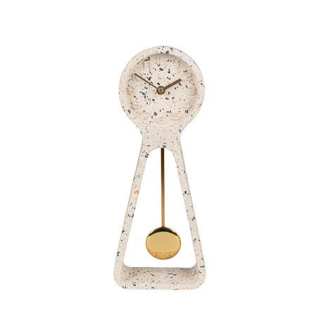 Zuiver Tafelklok Pendulum Time wit beton 14,5x6x38cm