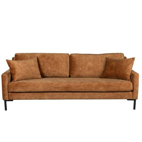 Dutchbone Sofa Houda caramel brown 3-seater polyester metal 202x87x85cm