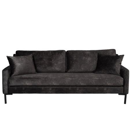 Dutchbone Houda sofa anthracite gray 3-seater polyester metal 202x87x85cm
