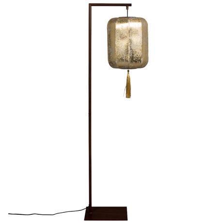 Dutchbone Vloerlamp Suoni brass goud polyester ijzer 30x32x157cm