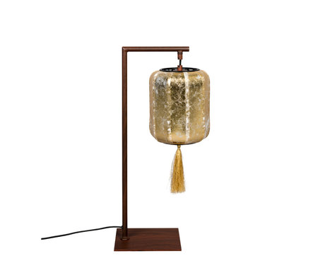 Dutchbone Table lamp Suoni gold brown iron 20x20x60cm