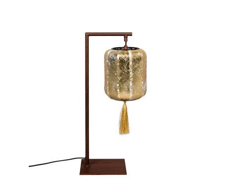 Dutchbone Tafellamp Suoni goud bruin ijzer 20x20x60cm