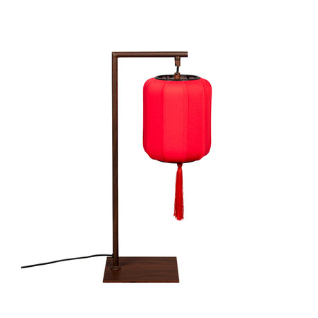 Dutchbone Table lamp Suoni red brown iron 20x20x60cm