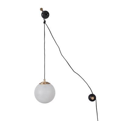 Dutchbone Bulan wall lamp white black glass iron 63x31,5x76cm