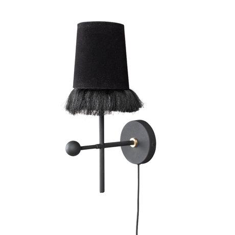 Dutchbone Applique Loyd noir textile fer 15x25x22cm