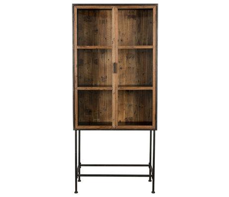 Dutchbone Display cabinet Berlin brown black glass wood iron 43x83x181cm