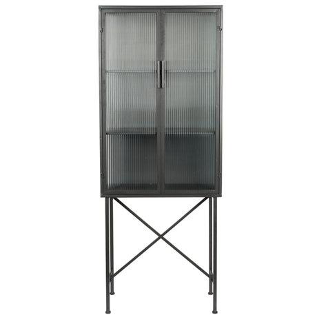 Dutchbone Showcase Boli black glass iron 70x34x178cm