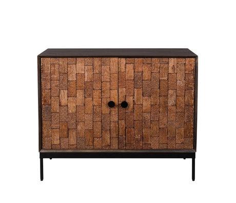Dutchbone Buffet biseau bois brun noir fer fer 100x40x80cm
