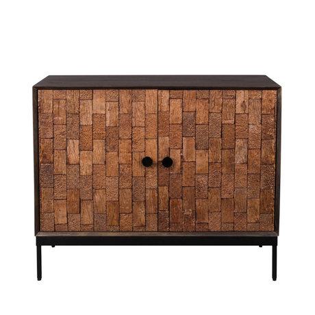 Dutchbone Chisel sideboard black brown wood iron 100x40x80cm