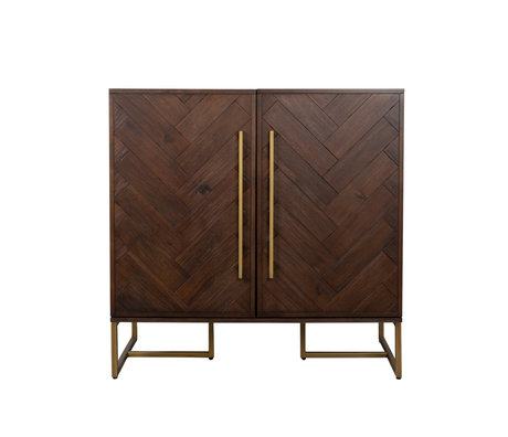 Dutchbone Sideboard Class dark brown gold acaia wood metal 100x50x100cm