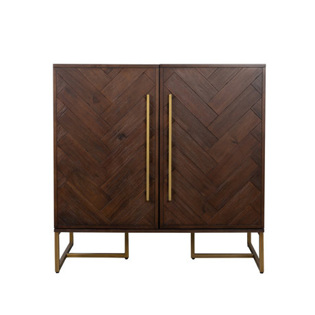 Dutchbone Enfilade Classe brun foncé or acaia bois métal 100x50x100cm