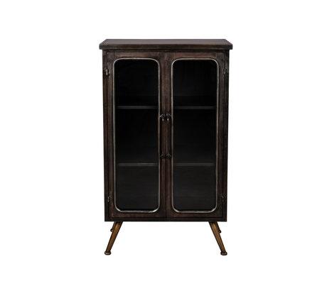 Dutchbone Armoire Denza brun verre noir fer 60x35x100cm