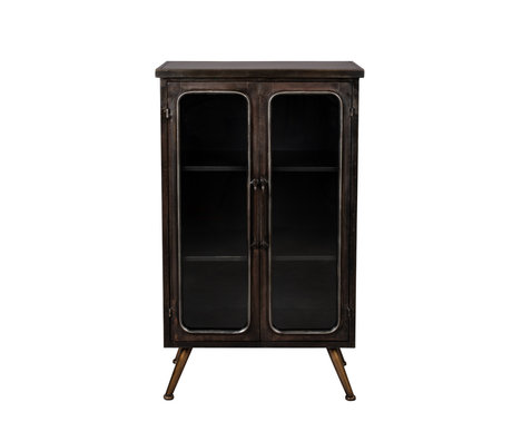 Dutchbone Cupboard Denza brown black glass iron 60x35x100cm
