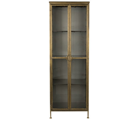 Dutchbone Vitrine Gertlush Messing Gold Glas Eisen 63,5x41,5x184cm