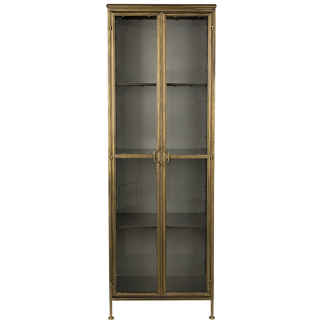 Dutchbone Display cabinet Gertlush brass gold glass iron 63.5x41.5x184cm