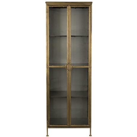 Dutchbone Vitrinekast Gertlush brass goud glas ijzer 63,5x41,5x184cm