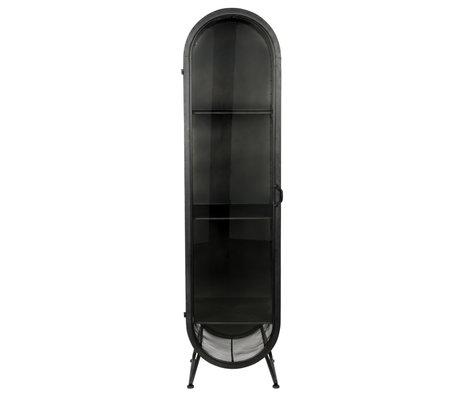 Dutchbone Armoire ovale en fer noir en verre 46x46x181cm