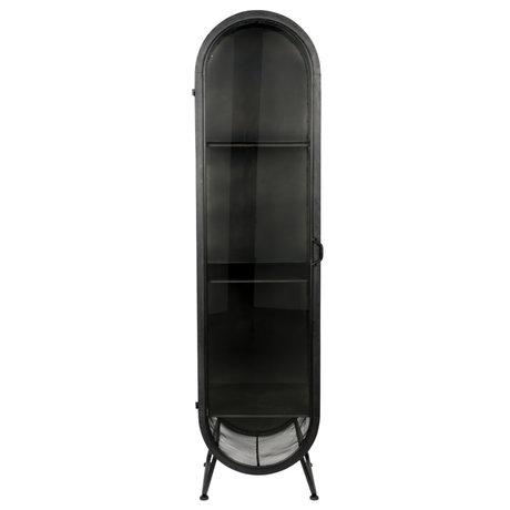 Dutchbone Kast Oval zwart glas ijzer 46x46x181cm