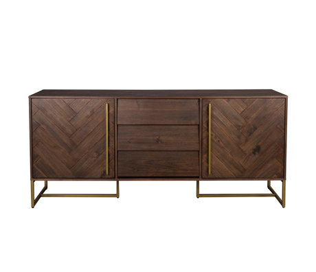 Dutchbone Sideboard Class High dark brown gold acaia wood metal 180x45x80cm